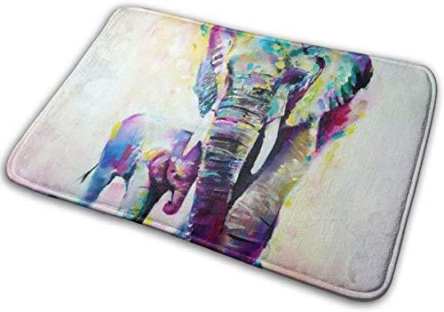 Zerbino per ingresso della famiglia con elefante caldo, antiscivolo, per bagno, cucina, bagno, 80 x 50 cm