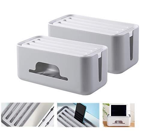 HAOGUT 2er Set Kabelbox, Kabelmanagement Box zum Kabel Verstecken bei Kabelsalat, Kabelaufbewahrung Kabel Organizer Box Schreibtisch Ladekabel Grau
