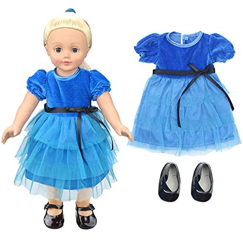 Tomicy Geburtstag Puppe Kleidung Zubehör Babygeschenke Dirndl Puppenkleidung -Geburtstags-Set mit Kleid und Schuhen für 43cm / 17 Zoll Neugeborene Babypuppe 2pc / Set (Blau)