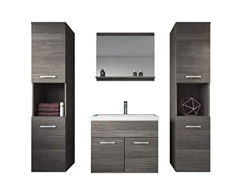 Badplaats B.V. Badezimmer Badmöbel Set Montreal XL 60 cm Waschbecken Bodega - Unterschrank Hochschrank Waschtisch Möbel