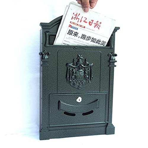 ZHPBHD Caja de Letras Muro al Aire Libre Buzón de Hierro Forjado con Cerradura PostBox Retro Caja de periódicos, Hardware de mejoras para el hogar