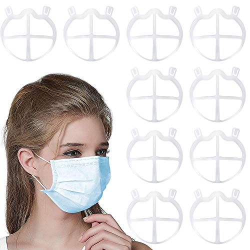 CNSSKJ Soporte de silicona para mas-ca-ri-lla, soporte interior para marco de cara 3D, respiración de la nariz sin problemas, uso cómodo, reutilizable, paquete de 10 unidades