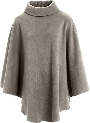 KK Fashion Lines Damen-Fleeceponcho mit Polokragen, Anti-Pilling-Fleece, kuschelig, warm Gr. Einheitsgröße, khaki