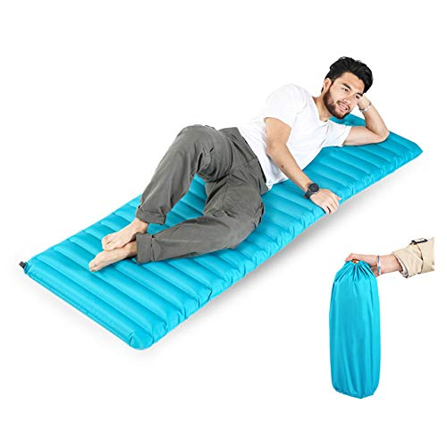 Colchoneta de dormir para camping, a presión para inflar, a prueba de humedad y portátil, ultraligero, 9 cm de grosor para senderismo, mochilero, al aire libre