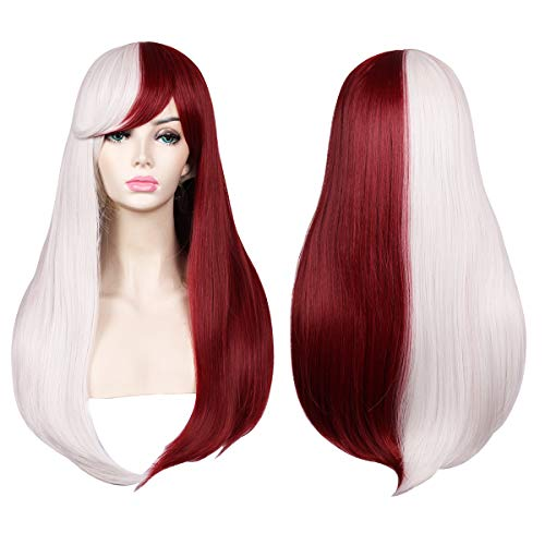 ColorGround Long Straight Silver White and Dark Red Cosplay Wig