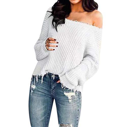 Jersey de punto para mujer con hombros descubiertos, camisetas de manga larga con cuello en V, camisetas casuales Blanco S