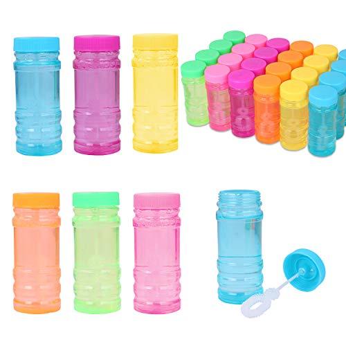 YouCute Seifenblasen 24 Flaschen 55ml Blase flüssiges Spielzeug mit Blase Zauberstab Geburtstag Kind Blase Blasmaschine Party liefert im Freien