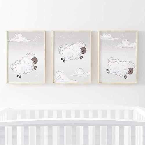 Sweet Pea Prints® Impression murale Motif moutons Poster A4 pour bébé garçon ou fille. Lot de 3 cadres photo non inclus