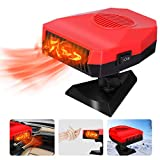 Portable Car Heater 12V 150W Car Defroster Defogger, 2 in 1 Car Heater & Cooling Fan, Winter Car Heater Plug Into Cigarette Lighter, 30 Seconds Fast Heating (Red)
