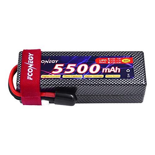 FCONEGY RC Akku 11.1V 5500mAh 3S 40C LiPo Batterie mit Deans T Stecker Modellbau Akkupack für RC Auto Boot Truck LKW Car Batterien