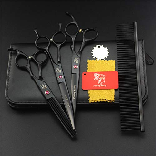 ZZBB 5PCS/Set 7.0-Inch Professional Cat Hair Thinning Shear Pet Dogs Grooming Scissors 6CR Exquisite (Black) Best Tools for Trimming Every Dog and Cat Salon Cut