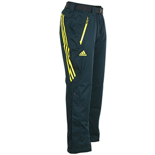 adidas Damen Coach Pant Skihose Snowboardhose Wintersporthose (dunkelgrau-gelb, 40)