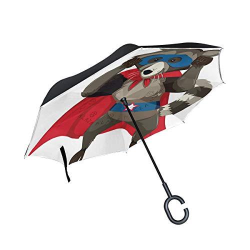 Best Prices! PNGLLD Skunk Superhero Inverted Umbrella Double Layer Reverse Folding Umbrella with C-S...