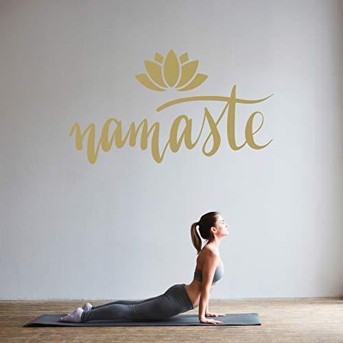 Namaste mit Lotusblume - Wandtattoo Wandaufkleber Sticker Aufkleber Mandala Lotus - erhältlich in vielen Größen (Gold, 100 x 56 cm)