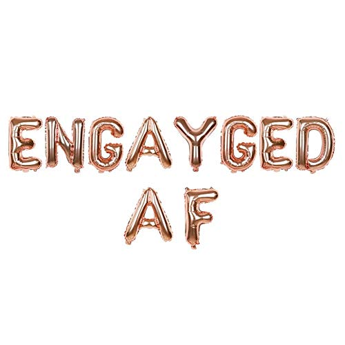 Engagement Letter Balloon Banner, Air-Filled Engayged AF Banner Phrase for Gay Lesbian Engagement Party Supplies, LGBTQ Pride Wedding Shower Bachelor Bachelorette Party Decor, 13'', Rose Gold