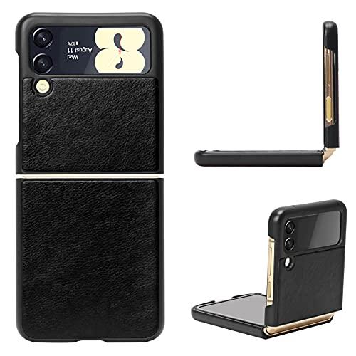 FYY Galaxy Z Flip 3 Hülle 5G,Handyhülle für Samsung Galaxy Z Flip 3 Klapphülle,PU Lederhülle für Samsung Z Flip 3 Tasche 5G 6.7 Zoll-Schwarz (2021)