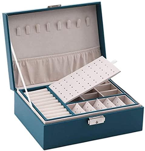 Caja de joyería caja de joyas de doble capa caja de almacenamiento de caja de almacenamiento pendiente caja de anillo de joyería Pulsera Pulsera de gran capacidad Caja de joyería Cajas de joyería
