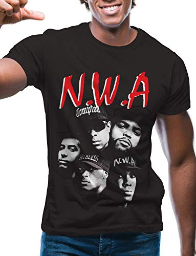 Swag Point Hip Hop T-Shirt - Funny Vintage Street wear Hipster Parody (M, NWA-BLK)
