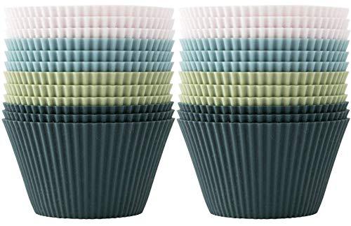 OUTWIT Backformen aus Silikon, Standard Silikonformen für Muffins 4 Farben, 24er-Set Wiederverwendbare antihaftbeschichtet BPA-frei - Cupcakeförmchen für Kuchen, Eincreme und Pudding