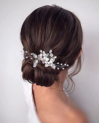 Edary Braut Blume Hochzeit Haarkämme Perle Braut Kopfschmuck Blatt Haarspangen Kristall Haarschmuck für Frauen und Mädchen (Silber)