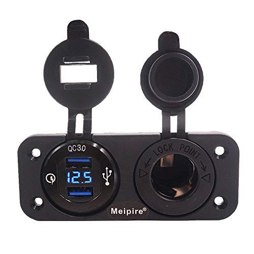 Meipire QC 3.0 USB Steckdose Panel 12V/24V, Quick Charge 3.0 Auto Ladegerät Einbau Buchse Wasserdicht Zigarettenanzünder USB Dose Adapter für Motorrad Boot LKW Wohnwagen ATV (QC + Loch (Blau))