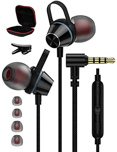 ACAGET Cuffie in Ear per Samsung Galaxy S10,Magnetici Auricolari da 3,5 mm,Cuffie con Microfono Controllo Volume,Cancellazione del Rumore Auricolari con Filo per iPhone 5/6S Plus,Samsung A51/A32 Nero