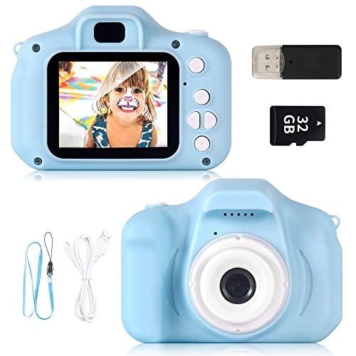 """ZStarlite Cámara Digital para Niños, 1080P 2.0"""" HD Selfie Video Cámara Infantil, Regalos Ideales para Niños Niñas de 3-10 Años, con Tarjeta TF 32 GB, Lector de Tarjetas (Azul)"""