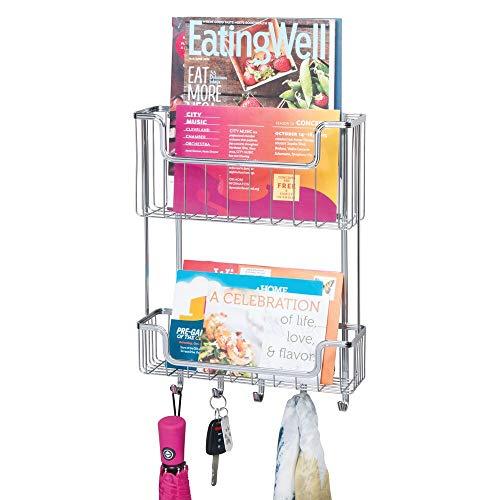 mDesign Organizador de Cartas para Pared de Metal – Organizador de Llaves con 2 estantes para Guardar el Correo, Las Llaves o Las Gafas – Colgador de Llaves para el Pasillo o la Cocina – Plateado