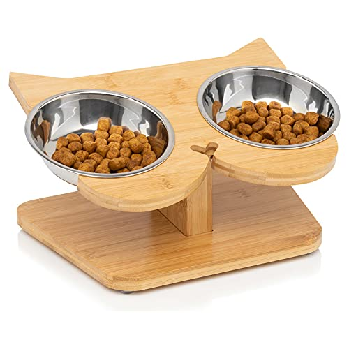 NibbleyPets Elevated Cat Bowl Stand - 2 Stainless Steel Cat Bowls for Food & 12° Bamboo Raised Pet Feeder with Anti Slip Feet - Perfect Ergonomic Anti Vomit Tilted Cat Food Bowls for Cats