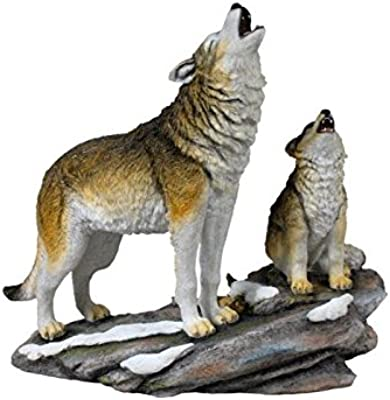 9.75 Inch Animal Figures Howling Mother Wolf wCub Collectible Display