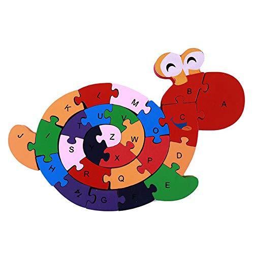 Ellepigy Alphabet Puzzle Holzschnecken Buchstaben Zahlen Block Lernspielzeug Für Kinder Im Vorschulalter Kinder, Um Intelligenz Zu Entwickeln