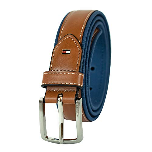 Tommy Hilfiger Men's Ribbon Inlay Belt - Fabric Belt with Single Prong Buckle, Navy Leather, 34