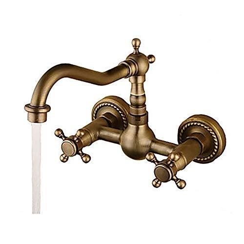 QCSMegy Grifo del Lavabo del baño - Grifo de bañera Giratorio de Dos Orificios/Dos manijas de Dos Agujeros/Dos manijas de Bronce Vintage