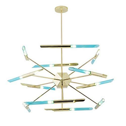 WEM Araña Nórdica de Cristal Azul, 120Cm, 24 luces, Lámpara Colgante Firefly, Mid Century, Lámpara Sputnik, Blanco Cálido, G9, Lámpara de Techo para Empotrar, para Salón, Comedor, Azul, 120Cm