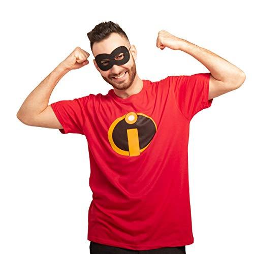 Unglaubliches Superhelden Karneval Kostüm mit Maske Herren T-Shirt L Rot
