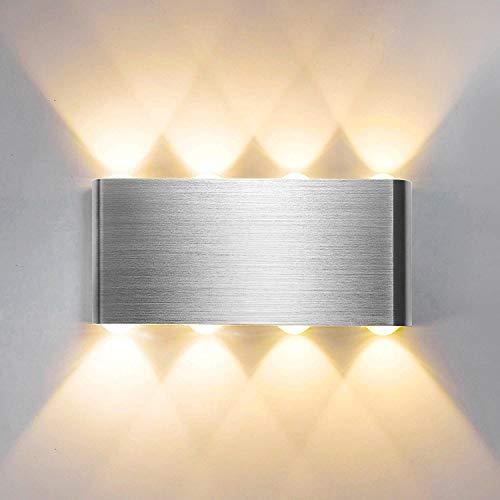 Lightess 8W LED Wandleuchte Innen Warmweiß Wandlampe Modern Up Down Licht Wandlicht Silber Wandbeleuchtung aus Aluminium Flurlampe Wand Beleuchtung für Wohnzimmer Schlafzimmer Treppenhaus