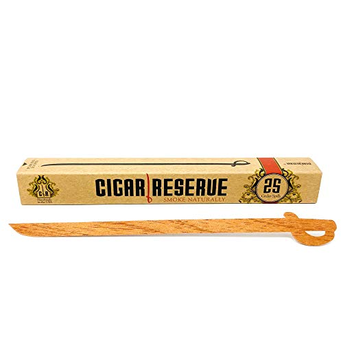 Cigar Reserve Spanish Cedar Spills - 25 Pack The Original & Genuine Wood Strips for Cigars Lighting Pipe Lighter Sticks Long Matches