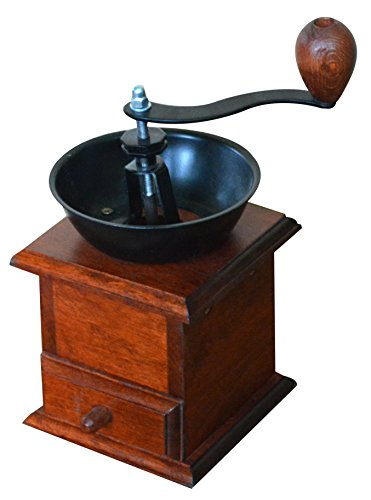 Kaffeemühle aus massivem Holz, mit Handbohnen, gekröpft, Braun