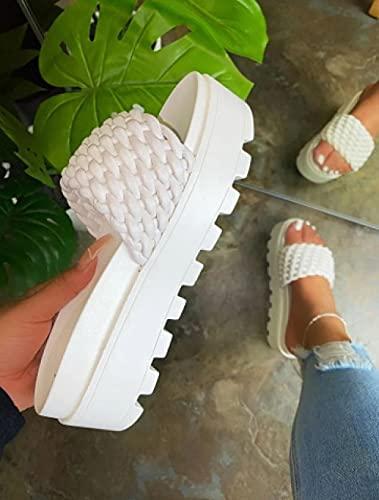 ypyrhh Zapatilla de Plataforma con cuña para Mujer,Dear Wore Sandals, Muffin Thick Sandals-White_42,Zapatillas de Estar por Casa de Mujer/Hombre