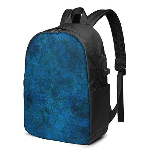 Mochila Portatil 17 Pulgadas Mochila Hombre Mujer con Puerto USB, Yeso Profundo Verde Azulado Mochila para El Laptop para Ordenador del Trabajo Viaje