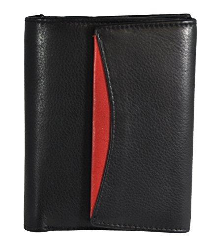 echt Leder Geldbörse Wiener Schachtel Jockey Club Nappaleder schwarz rot mit RFID Schutz