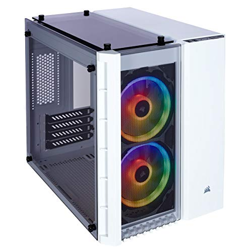 CORSAIR Crystal 280X RGB Micro-ATX Case, 2 RGB Fans, Lighting Node PRO Included, Tempered Glass - White
