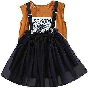 Toddler Kids Baby Girl Sleeveless Cartoon Letter T Shirt Tops + Tulle Skirt 2Pcs Clothes Set (Coffee, 13):Shizuku7148