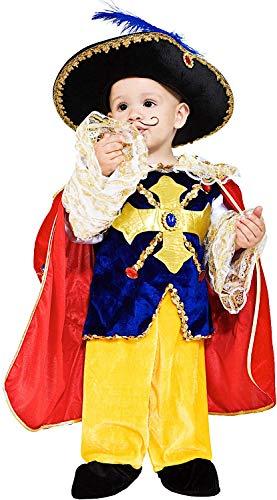 Costume di Carnevale da Piccolo Dartagnan Vestito per Neonato Bambino 0-3 Anni Travestimento Veneziano Halloween Cosplay Festa Party 7708 Taglia 0