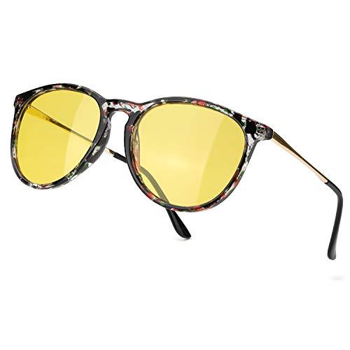 TJUTR Polarisierte Nachtfahrtbrille für Autofahren Damen und Herren HD Gelbe Nacht Vision Blendschutz Brille - UV400 (Schwarz Blumig/Gelb)