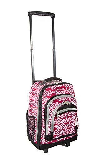Everest Unisex-Erwachsene Wheeled Backpack With Pattern Rucksack, Burgundy/White Ikat, Einheitsgröße