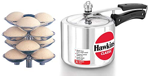Hawkins Classic Pressure Cooker and G05 Mini Idli Stand for Pressure Cooker-Silver, 3-Litre (Maked...