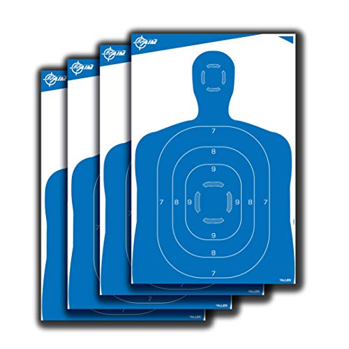 EZ-Aim High Visibility Paper Range Shooting Targets Human Silhouette by Allen, 23 inch X 35 inch, 4 Pack, White/Blue