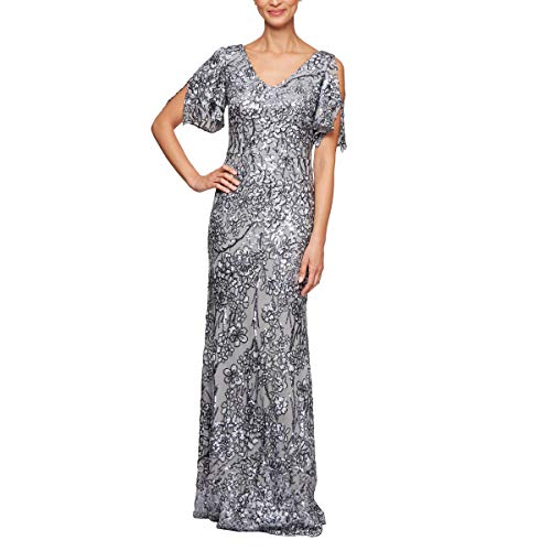 Alex Evenings Women's Long Sequin Dresses, Silver, 10
