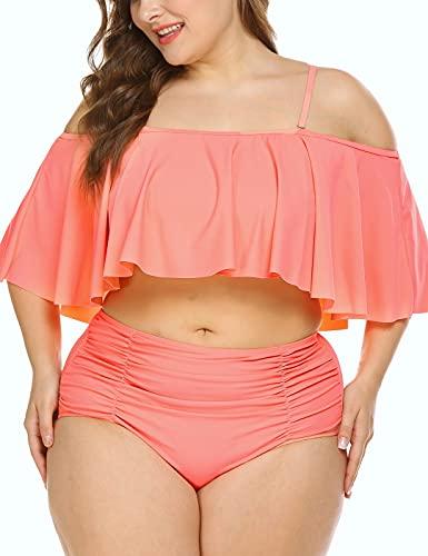 IN'VOLAND Women Plus Size Two Piece High Waisted Bikini Ruffled Flounce Top Bathing Suits Swimwear Pink